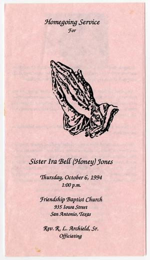 Primary view of object titled '[Funeral Program for Ira Bell Jones, October 6, 1994]'.