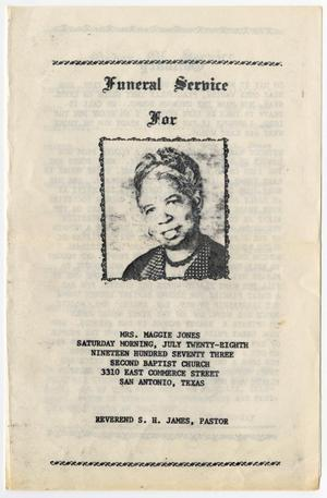 Primary view of object titled '[Funeral Program for Maggie Jones, July 28, 1973]'.