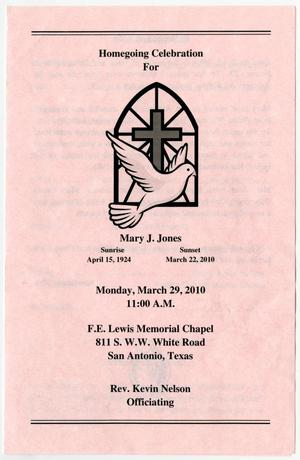 Primary view of object titled '[Funeral Program for Mary J. Jones, March 29, 2010]'.