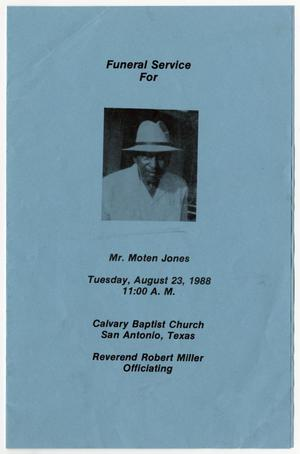 Primary view of object titled '[Funeral Program for Moten Jones, August 23, 1988]'.
