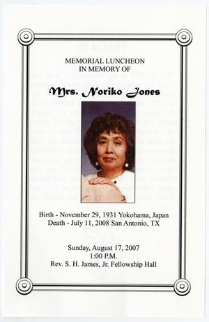 Primary view of object titled '[Memorial Program for Noriko Jones, August 17, 2007]'.
