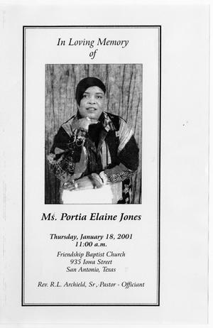 Primary view of object titled '[Memorial Program for Portia Elaine Jones, January 18, 2001]'.