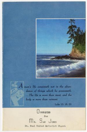 Primary view of object titled '[Funeral Program for Sam Jones, April 17, 1969]'.