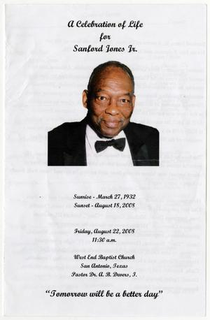 Primary view of object titled '[Funeral Program for Sanford Jones, August 22, 2008]'.