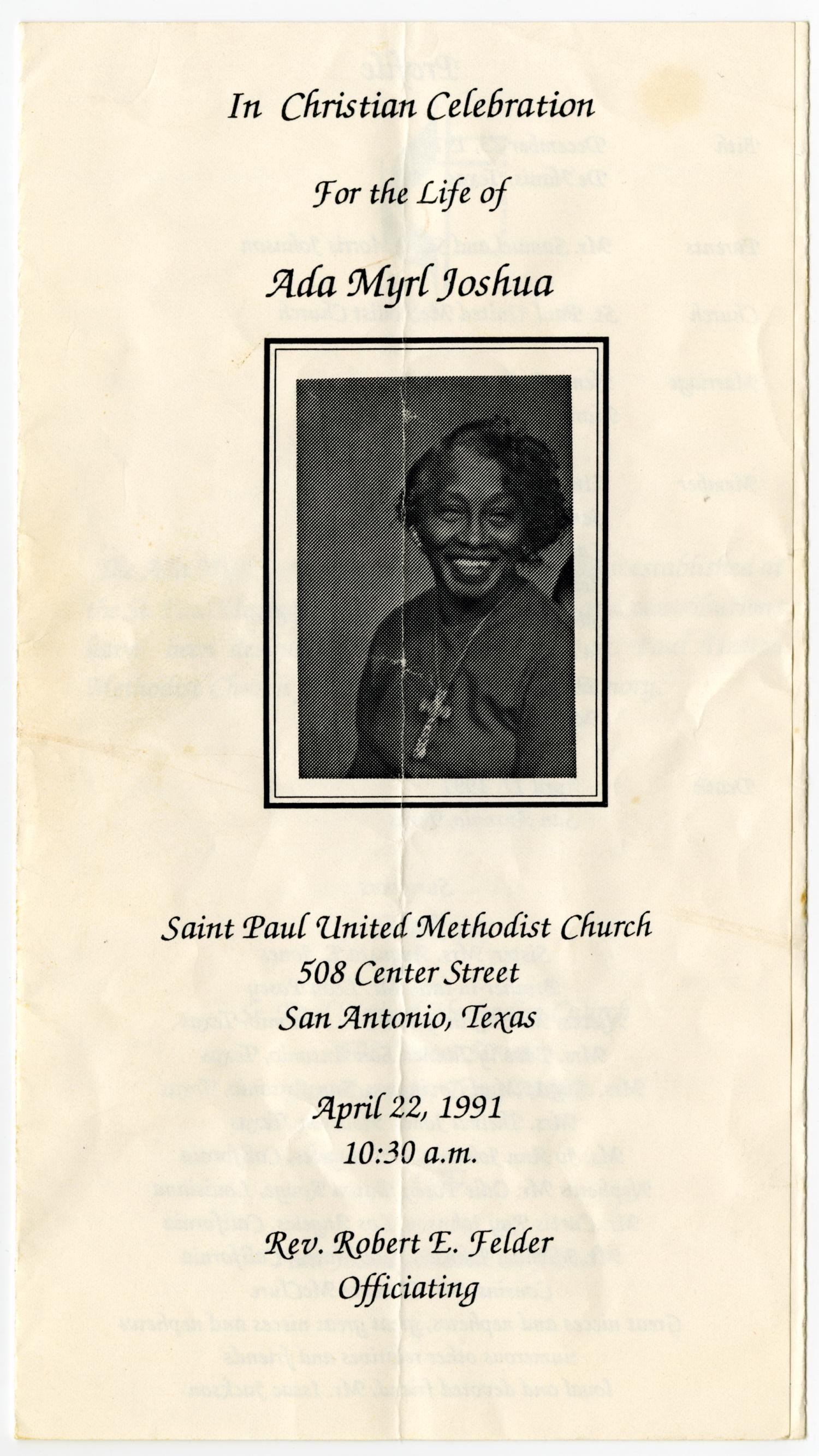 [Funeral Program for Ada Myrl Joshua, April 22, 1991]                                                                                                      [Sequence #]: 1 of 3