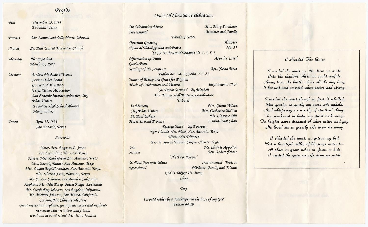 [Funeral Program for Ada Myrl Joshua, April 22, 1991]                                                                                                      [Sequence #]: 2 of 3