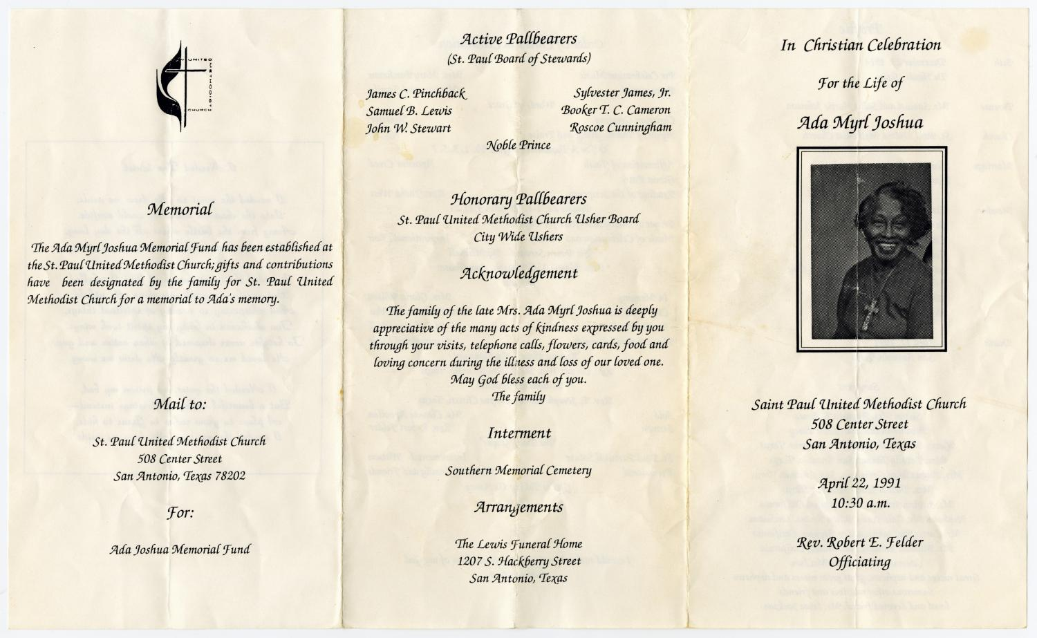 [Funeral Program for Ada Myrl Joshua, April 22, 1991]                                                                                                      [Sequence #]: 3 of 3