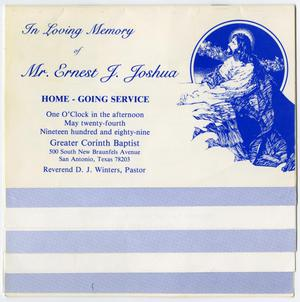 Primary view of object titled '[Funeral Program for Ernest J. Joshua, May 24, 1989]'.