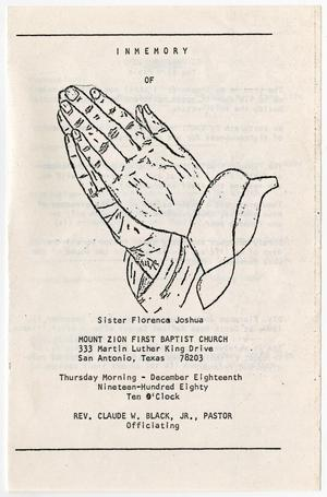 Primary view of object titled '[Funeral Program for Florence Joshua, December 18, 1980]'.
