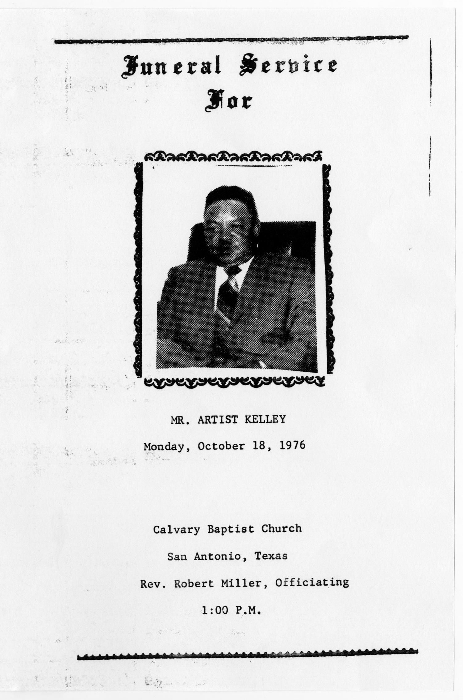 [Funeral Program for Artist Kelley, October 18, 1976]                                                                                                      [Sequence #]: 1 of 3