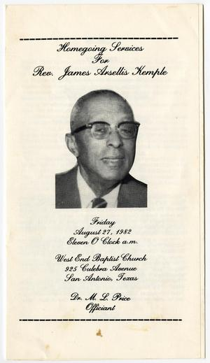 Primary view of object titled '[Funeral Program for James Arsellis Kemple, August 27, 1982]'.