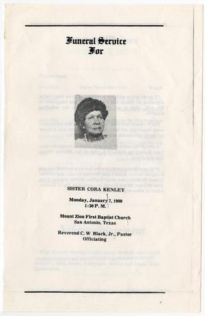 Primary view of object titled '[Funeral Program for Cora Kenley, January 7, 1980]'.