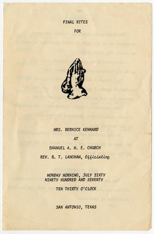 Primary view of object titled '[Funeral Program for Bernice Kennard, July 6, 1970]'.