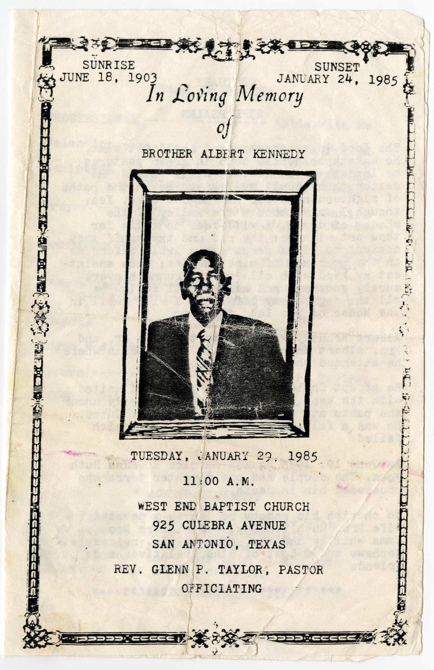 [Funeral Program for Albert Kennedy, January 29, 1985]                                                                                                      [Sequence #]: 1 of 3