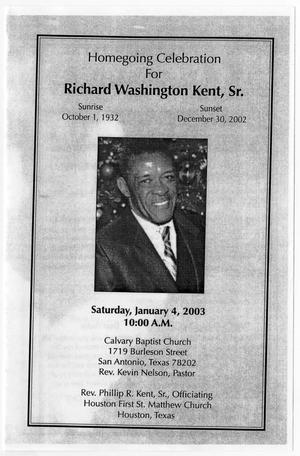 Primary view of object titled '[Funeral Program for Richard Washington Kent, Sr., January 4, 2003]'.
