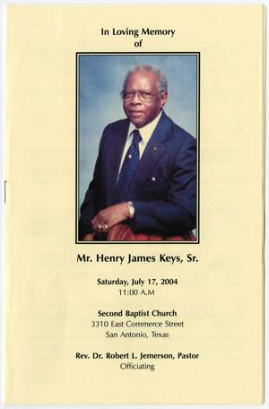 Primary view of object titled '[Funeral Program for Henry James Keys, Sr., July 17, 2004]'.