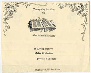 [Funeral Program for Maud Ella Keys, April 22, 1989]