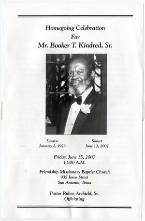 funeral program for booker t kindred sr june 15 2007 the