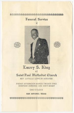 Primary view of object titled '[Funeral Program for Emory S. King, March 22, 1968]'.