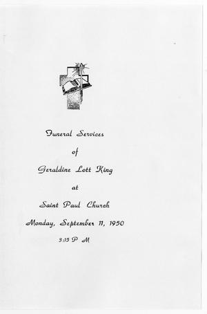 Primary view of object titled '[Funeral Program for Geraldine Lott King, September 11, 1950]'.