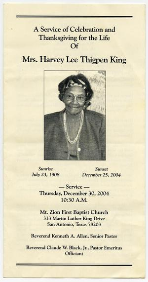 Primary view of object titled '[Funeral Program for Harvey Lee Thigpen King, December 30, 2004]'.