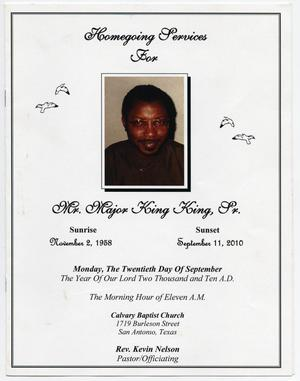Primary view of object titled '[Funeral Program for Major King King, Sr., September 20, 2010]'.