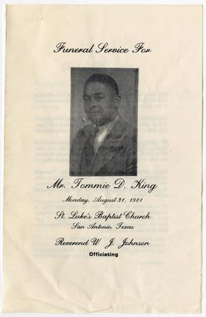 Primary view of object titled '[Funeral Program for Tommie D. King, August 31, 1981]'.