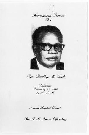Primary view of object titled '[Funeral Program for Dudley M. Kirk, February 22, 1986]'.