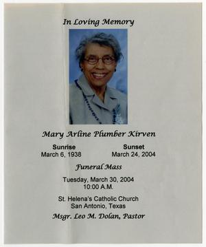 [Funeral Program for Mary Arline Plumber Kirven, March 30, 2004]