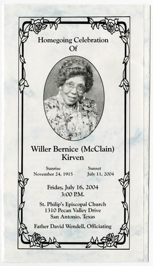 Primary view of object titled '[Funeral Program for Willer Bernice Kirven, July 16, 2004]'.