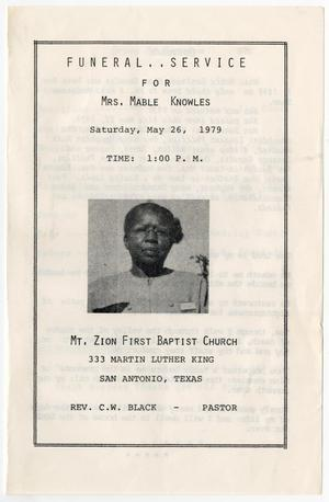 Primary view of object titled '[Funeral Program for Mable Knowles, May 26, 1979]'.