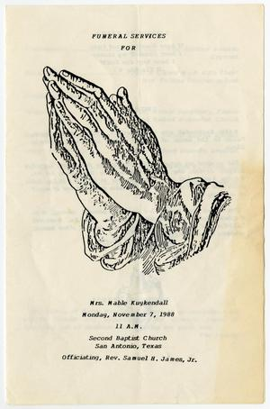 Primary view of object titled '[Funeral Program for Mable Kuykendall, November 7, 1988]'.
