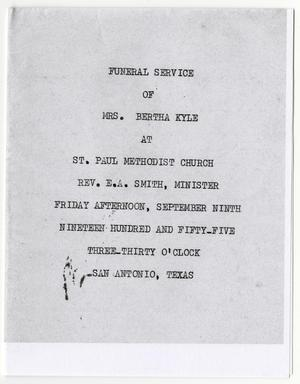 Primary view of object titled '[Funeral Program for Bertha Kyle, September 9, 1955]'.