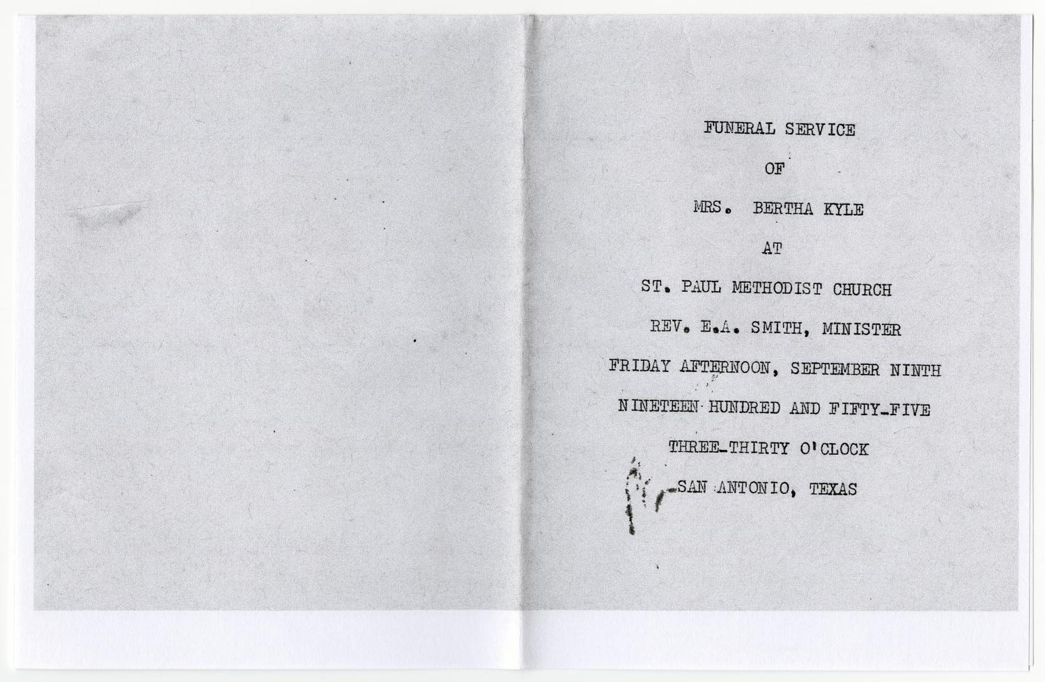 [Funeral Program for Bertha Kyle, September 9, 1955]                                                                                                      [Sequence #]: 3 of 3