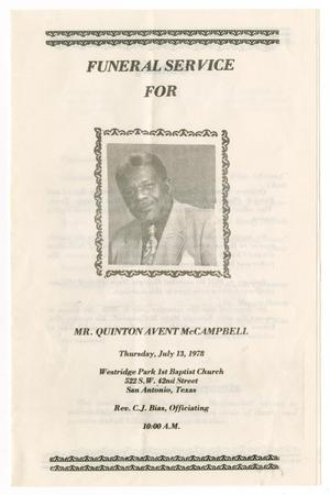 Primary view of object titled '[Funeral Program for Quinton Avent McCampbell, July 13, 1978]'.