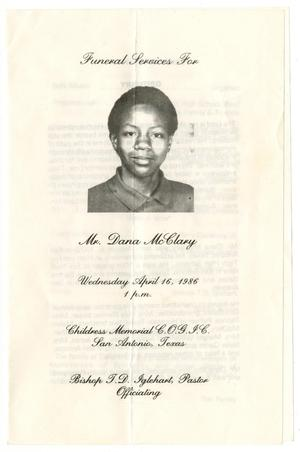 [Funeral Program for Dana McClary, April 16, 1986]
