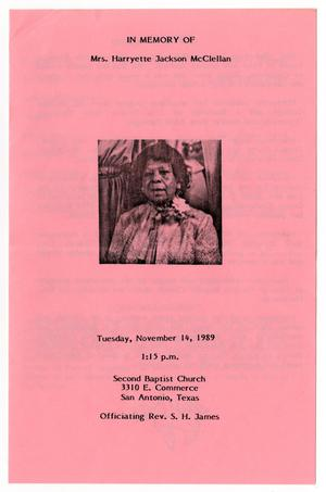 Primary view of object titled '[Funeral Program for Harryette Jackson McClellan, November 14, 1989]'.