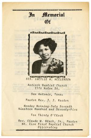Primary view of object titled '[Funeral Program for Lucille M. McClendon, July 7, 1975]'.
