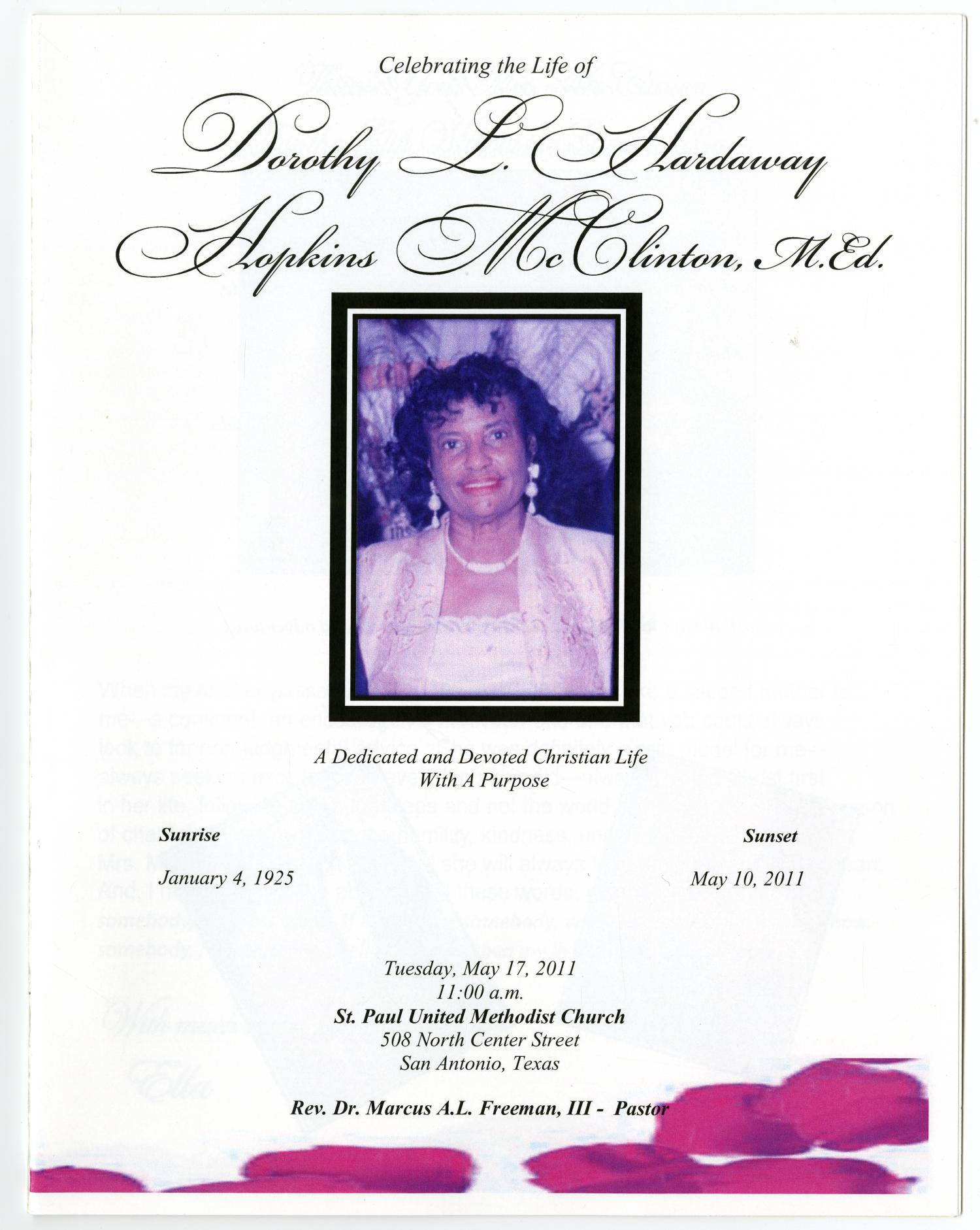 [Funeral Program for Dorothy L. Hardaway Hopkins McClinton, May 17, 2011]                                                                                                      [Sequence #]: 1 of 24