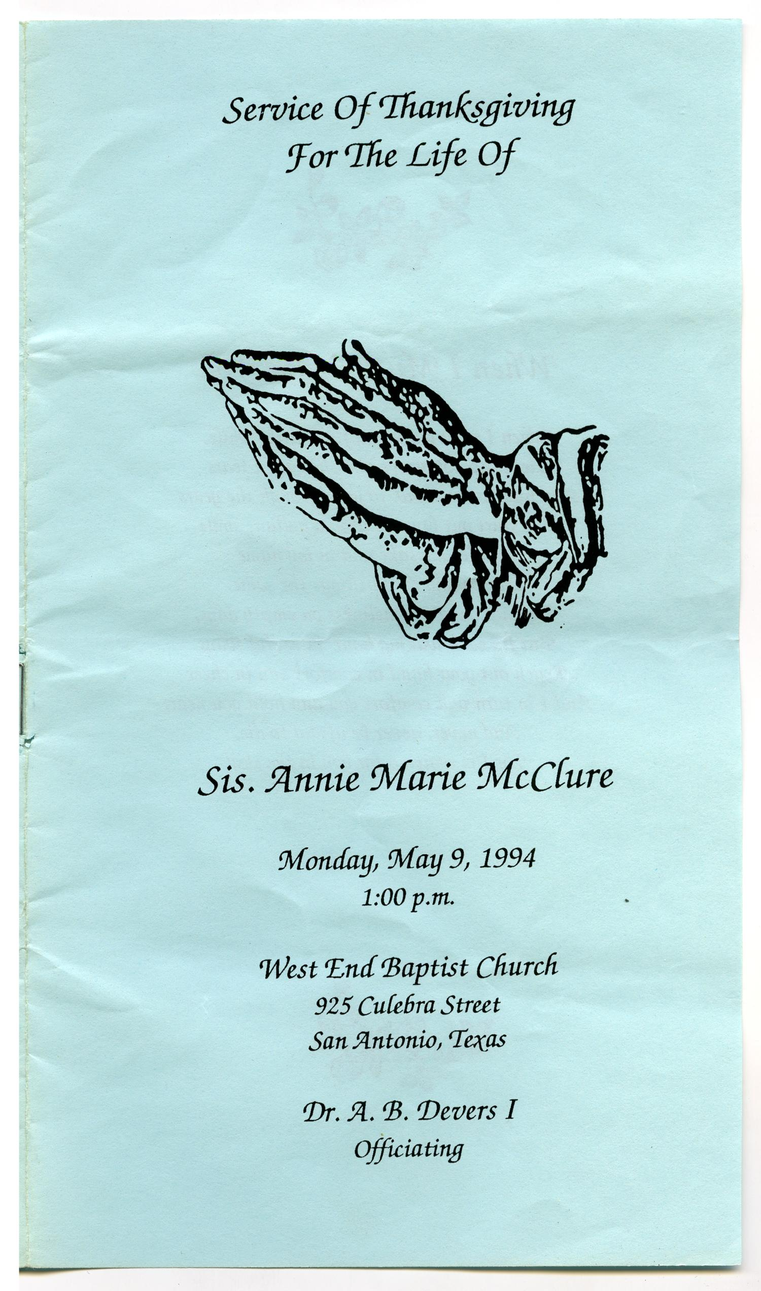 [Funeral Program for Annie Marie McClure, May 9, 1994]                                                                                                      [Sequence #]: 1 of 5