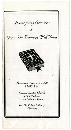 Primary view of object titled '[Funeral Program for Vernon McClure, June 10, 1999]'.