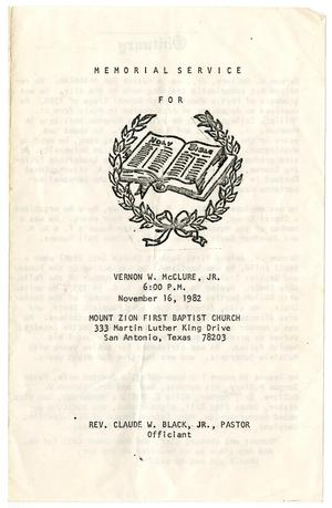 Primary view of object titled '[Funeral Program for Vernon W. McClure, Jr., November 16, 1982]'.