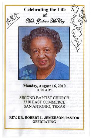 [Funeral Program for Zudora McCoy, August 16, 2010]