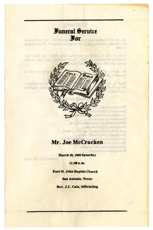 Primary view of object titled '[Funeral Program for Joe McCracken, March 29, 1980]'.