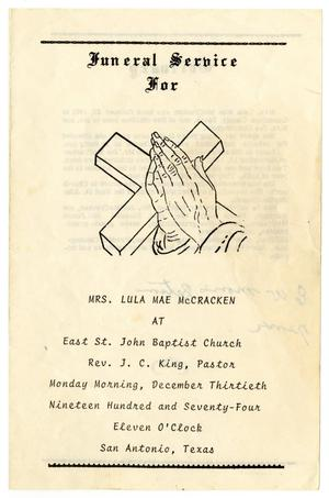 Primary view of object titled '[Funeral Program for Lula Mae McCracken, December 30, 1974]'.