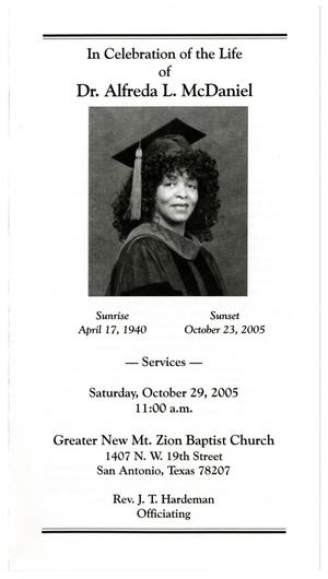 Primary view of object titled '[Funeral Program for Alfreda L. McDaniel, October 29, 2005]'.