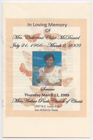 [Funeral Program for Catherine Chloe McDaniel, March 12, 2009]