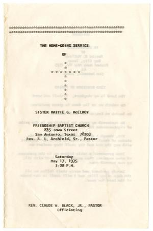 Primary view of object titled '[Funeral Program for Mattie G. McElroy, May 17, 1975]'.