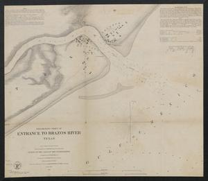Primary view of object titled 'Preliminary chart of entrance to Brazos River, Texas / from a trigonometrical survey under the direction of A. Bache ; triangulation by J.S. Williams ; topography by J.M. Wampler ; hydrography by the parties under the command of E.J. De Haven & J.K. Duer.'.