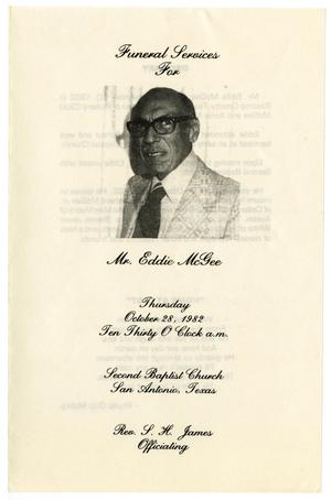 [Funeral Program for Eddie McGee, October 28, 1982]